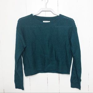 Forever 21 Teal Long Sleeve Crop Sweater